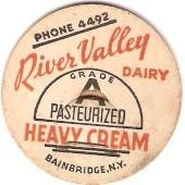 New York Bainbridge Milk Bottle Cap Name/Subject: River Valley Dairy Heavy~434