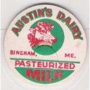 ME Bingham Milk Bottle Cap Name/Subject: Austin's Dairy me_album, ~6