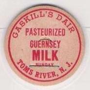 NJ Toms River Milk Bottle Cap Name/Subject: Gaskill's Dairy Guernsey Milk~90