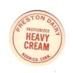 CT Norwich Milk Bottle Cap Name/Subject: Preston Dairy Heavy Cream ~531
