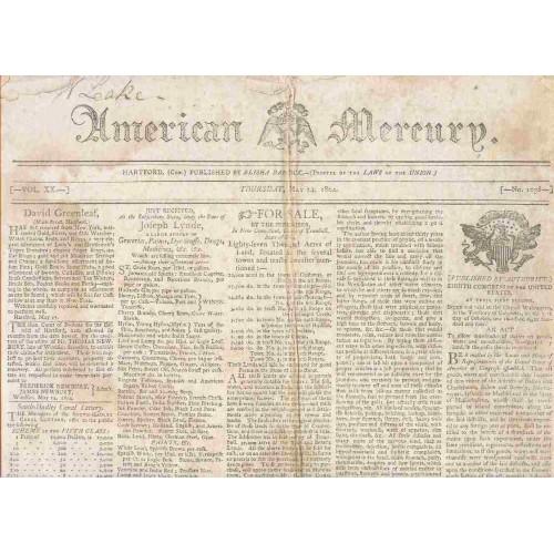 CT Hartford Newspaper Title: American Mercury Date: May-24-1804~22