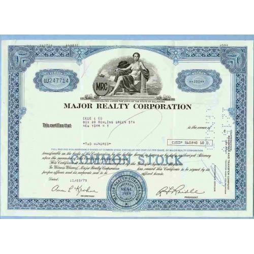 DE na Stock Certificate Company: Major Realty Corporation ~50