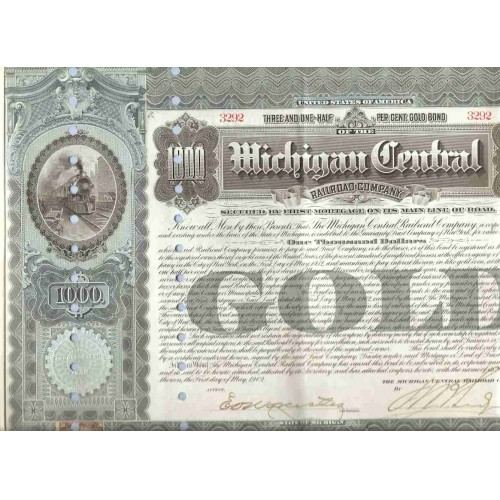 MI na Stock Certificate Company: Michigan Central Railroad Company ~117