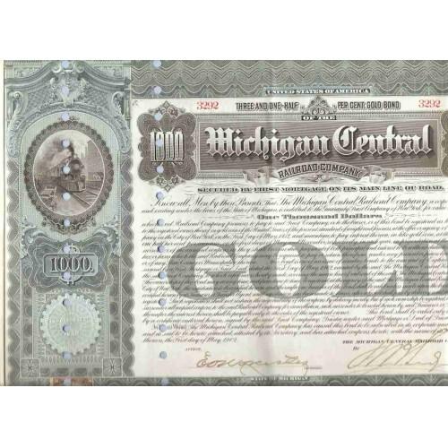 MI na Stock Certificate Company: Michigan Central Railroad Company ~117