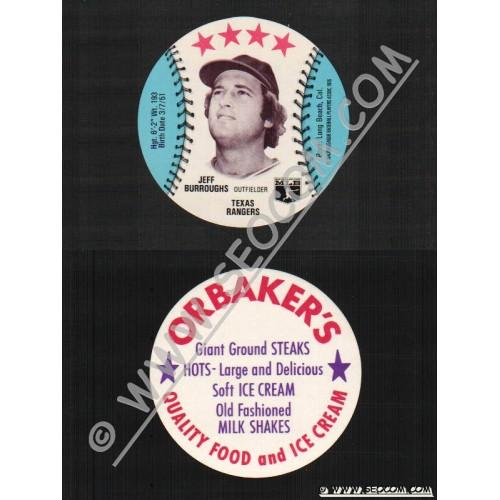 Sport Baseball Discs Name: Burroughs, Jeff Outfielder Texas Rangers~540