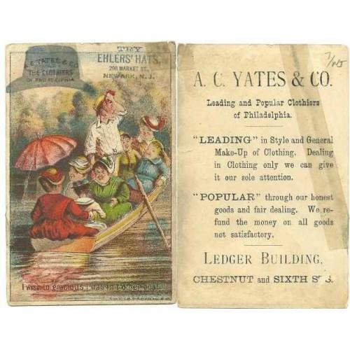 NJ Newark Victorian Trade Card Ehlers' Hats, 298 Market Street, Newark, NJ~48