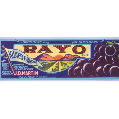 CA Rayo Fruit Crate Label Rayo Brand Ribier Grapes J. D. Martin, Rayo Tula~27