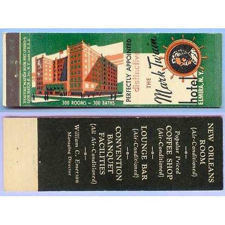 New York Elmira Matchcover Advertising The Mark Twain Hotel Elmira NY Half~131