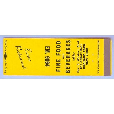 New York Orchard Park Matchcover Advertising Evans Restaurant Corner S Wes~169