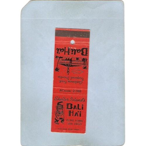 CA San Diego Matchcover Tiki Bali Ha'I Point Loma~81