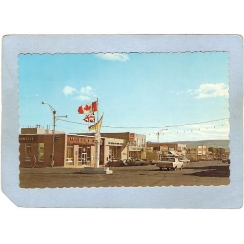 CAN Dawson Creek Postcard Tenth Street Street Scene w/Older Cars Rippled E~19