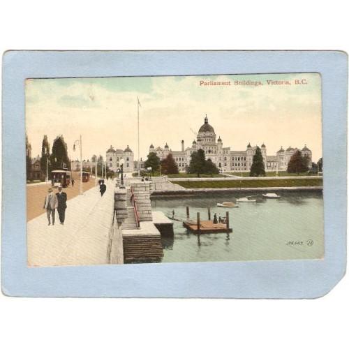 CAN Victoria Postcard Parliament Buildings Street Scene w/2 Trolley Cars c~231