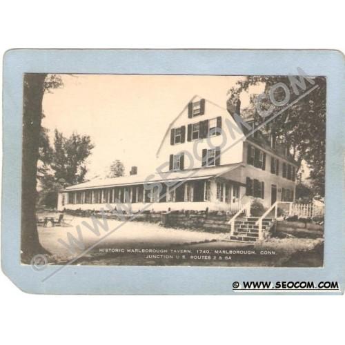 CT Marlborough Postcard Historic Marlborough Tavern 1740 Junction U S Rout~1129