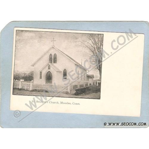CT Moodus Postcard St Bridget's Church ct_box3~1166