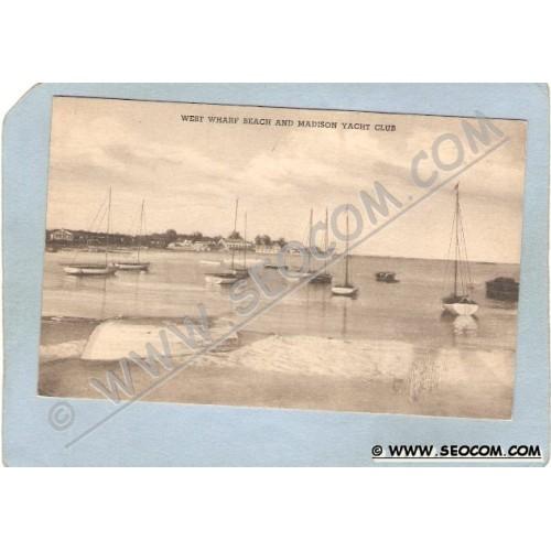 CT Madison Postcard West Wharf Beach & Madison Yacht Club ct_box3~1182