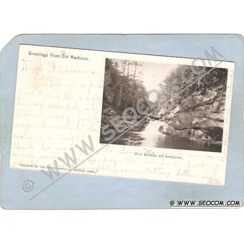 CT Madison Postcard Greetings From Old Madison Old Bridge At Ninevah Undiv~1186