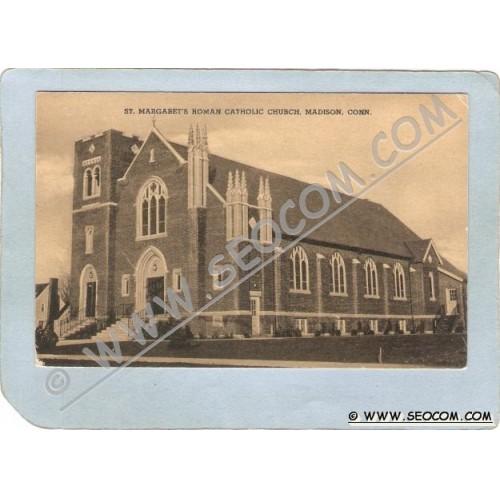 CT Madison Postcard St Margaret's Roman Catholic Church ct_box3~1203