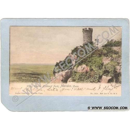 CT Meriden Postcard Craig Castle Hubbard Park Undivided Back ct_box3~1245