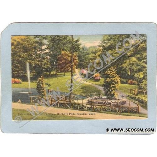 CT Meriden Postcard Swimming Pool & Pathway Hubbard Park ct_box3~1250