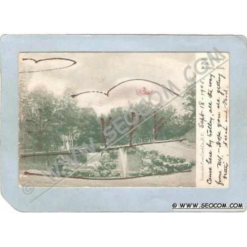 CT Meriden Postcard Hubbard Park w/Red Sparkles Undivided Back ct_box3~1257