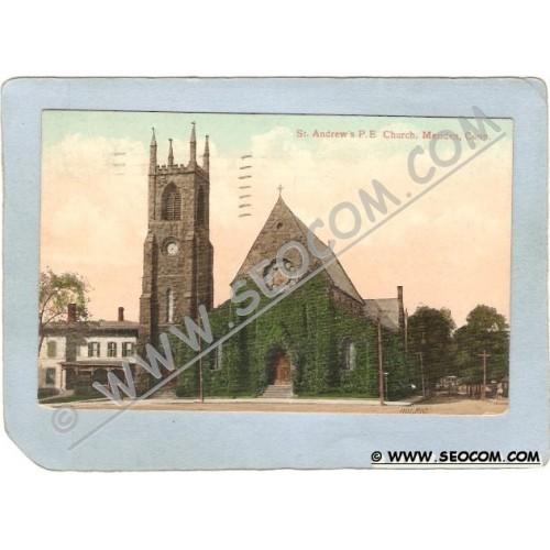 CT Meriden Postcard St Andrew's P E Church Street Scene Intersection w/Hor~1275