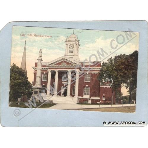 CT Meriden Postcard City Hall Street Scene ct_box3~1298