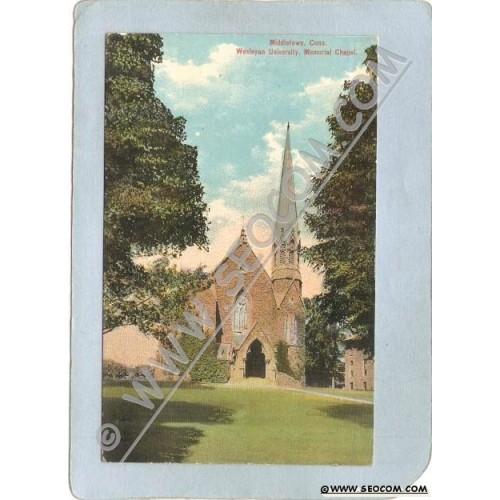 CT Middletown Postcard Wesleyan University Memorial Chapel ct_box3~1374