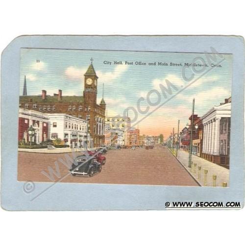 CT Middletown Postcard City Hall Post Office & Main Street Street Scene In~1437