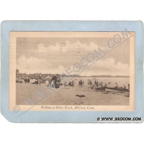 CT Milford Postcard Bathing At Silver Beach ct_box3~1450