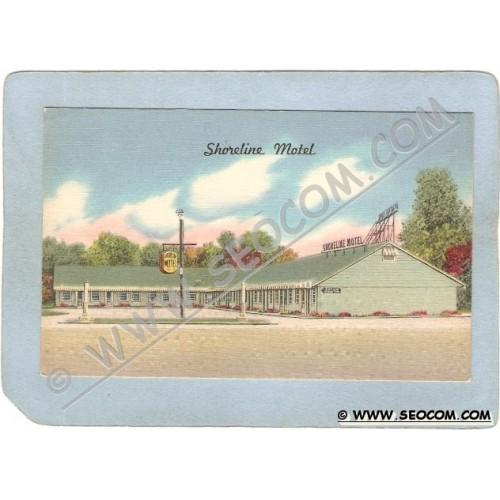 CT MIlford Postcard Shorline Motel Boston Post Road U S 1 ct_box3~1454