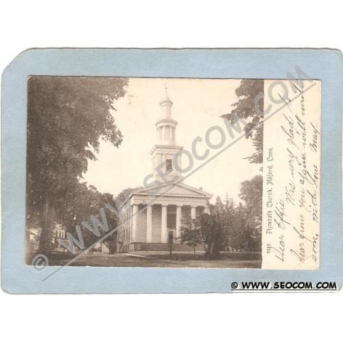 CT Milford Postcard Plymouth Church Rotograph Card Undivided Back ct_box3~1471