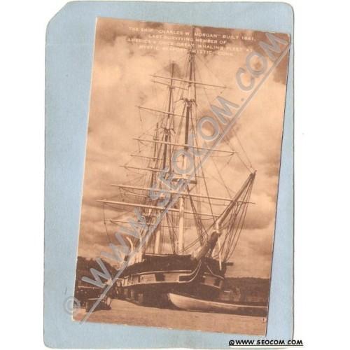 CT Mystic Postcard Mystic Seaport Ship Charles W Morgan ct_box3~1505