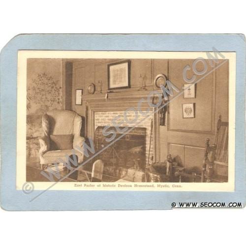 CT Mystic Postcard East Parlor Denison Homestead ct_box3~1528