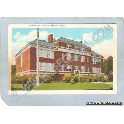 CT Mystic Postcard Broadway School ct_box3~1547