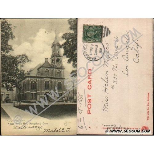 CT Naugatuck Postcard Town Hall Undivided Back Rotograph Card ct_box4, get~1555