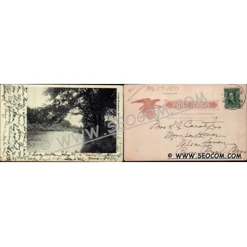 CT New Canaan Postcard Lake Wampanaw Undivided Back ct_box4, getfrom3, ~1577