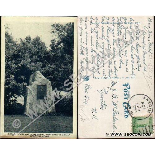 CT Noroton Postcard George Washington Memorial Old Kings Highway ct_box4, ~1629
