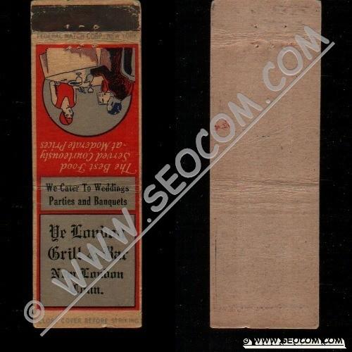 CT New London Matchcover Ye London Grill & Bar ct_box4~1739