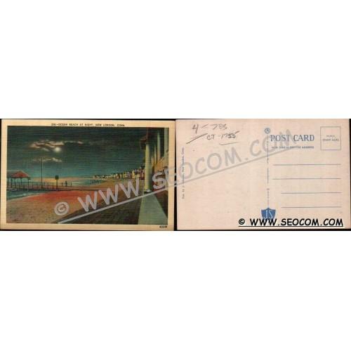 CT New London Postcard Ocean Beach At Night ct_box4~1755