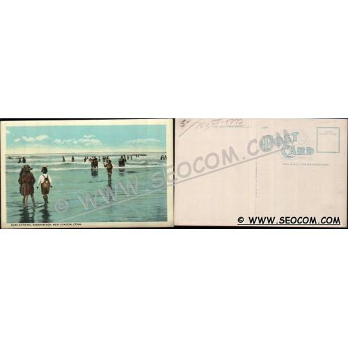 CT New London Postcard Surf Bathing Ocean Beach ct_box4~1772