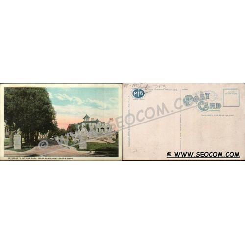 CT New London Postcard Entrance To Neptune Park Ocean Beach ct_box4~1805