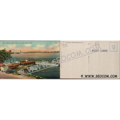 CT New London Postcard Fort Trumbull Coast Guard Base w/Old Cars ct_box4~1844