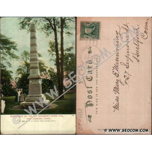 CT New London Postcard Monument Of The 21st Regiment Conn Vol ct_box4~1868