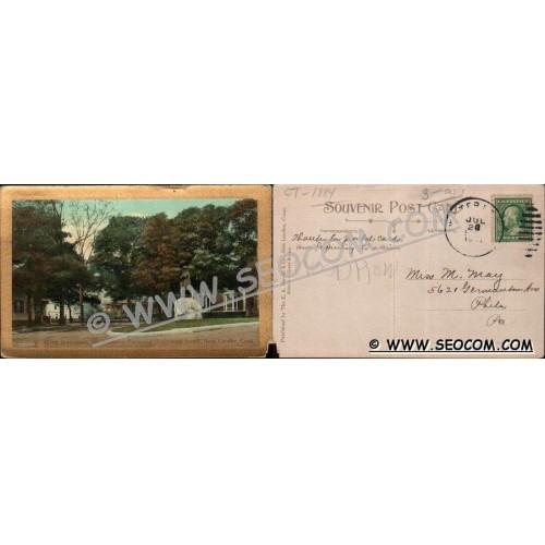 CT New London Postcard Winthrop Monument Cor Bulkeley Place & Hempstead St~1884
