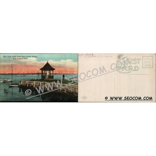 CT New London Postcard New York Yacht Fleet New London Harbor ct_box4~1926