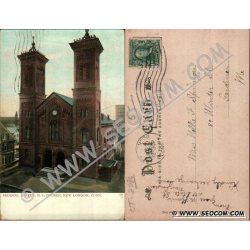 CT New London Postcard Federal Street M E Church ct_box4~2086