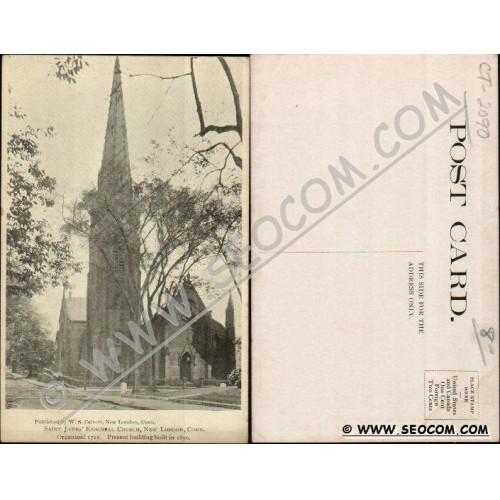CT New London Postcard Saint James Episcopal Church Organized 1725 Present~2090
