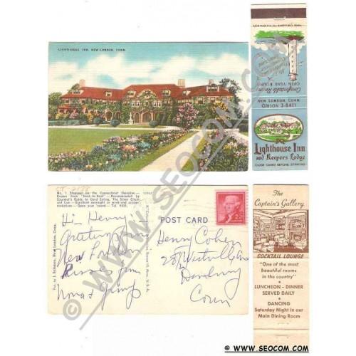 CT New London Postcard Matchcover Combo Pack Matchcover Lighthouse Inn & K~2138