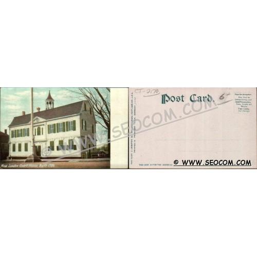 CT New London Postcard New London Court House Built 1784 w/Fireman's Monum~2170