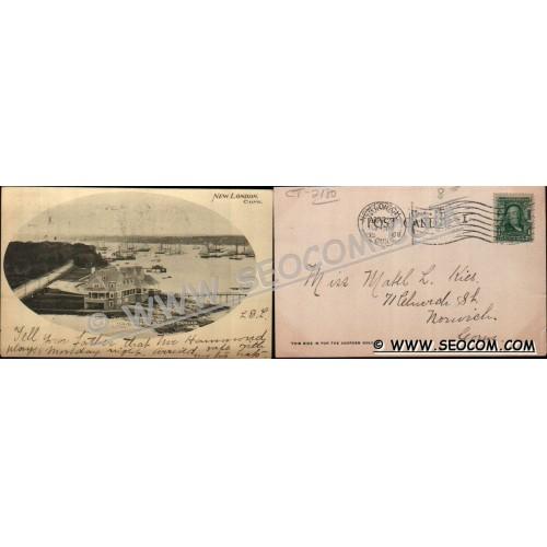 CT New London Postcard Thames River & Pequot Casino Undivided Back ct_box4~2180